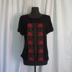 Skies are Blue Embroidery  Roses Blouse